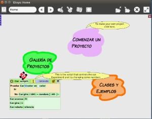 pantalla de inicio de Etoys